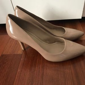 BCBGeneration Nude Patent Pointed Toe Heels
